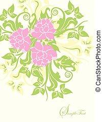 Vintage wedding invitation card with ornate elegant floral design