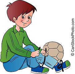 Vector of boy tying shoelace. - Vector illustration of boy...