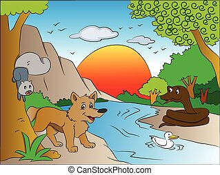 Vector of squirrel and fox watching snake on other side of lake.