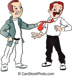 Vector of angry man pulling businessman's tie. - Vector of...