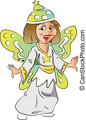 Vector of girl in fairy costume.