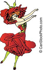 Red american rose flower-child or flower-woman dancing - Red...