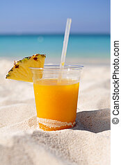 Mango daiquiri on sandy beach - Mango daiquiri with...