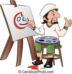 Artist Painting a Face, illustration - Artist Painting a...