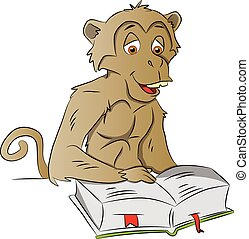 Vector of wise monkey reading a book.