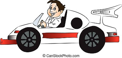 Vector of happy boy driving car - Vector illustration of...