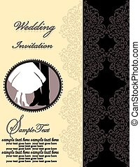 Vintage wedding invitation card with ornate elegant retro abstract floral design