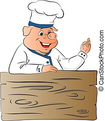 Vector of pig chef giving ok gesture - Vector illustration...
