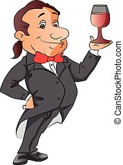 Vector of waiter holding a wineglass - Vector illustration...