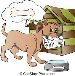 Dog Holding a Newspaper, illustration - Dog Holding a...