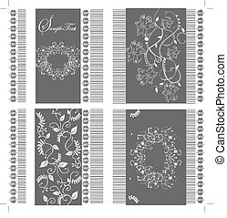 Set of four cards with floral background