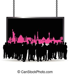 people silhouette illustration front of famous monument