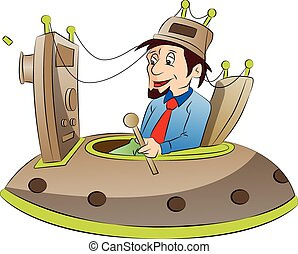 Man Sitting on a Mind Control Chair, vector illustration