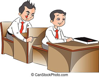 Vector of curious schoolboys - Vector illustration of...