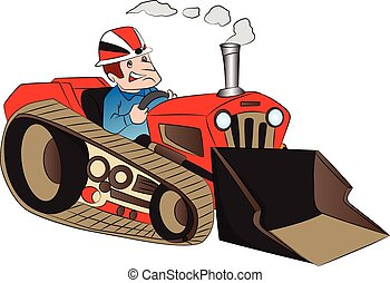 Vector of construction worker driving a loader. - Vector...
