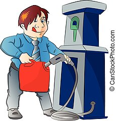 Man Pumping Gasoline into a Container, illustration - Man...