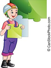 Boy Completing a Wall Puzzle, illustration - Boy Completing...