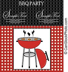 Vintage barbecue party invitation card with abstract weave design