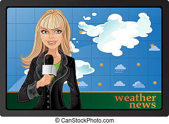 blond girl with microphone and weather news - blond girl...