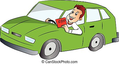 Vector of man driving car and showing rap sign. - Vector...