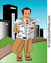 Vector of businessman reading newspaper.