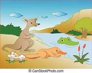 Vector of crocodile in lake sneaking on prey - Vector...