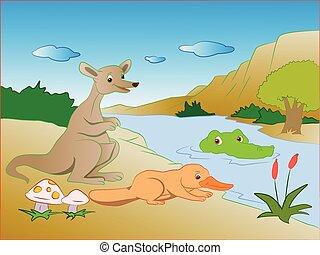 Vector of crocodile in lake sneaking on prey - Vector...