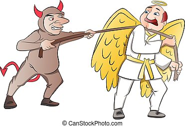 Tug-of-War Between a Devil and an Angel, illustration -...