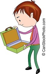 Man Opening an Empty briefcase, illustration