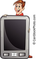 Man Holding a Large Tablet PC, illustration - Man Holding a...