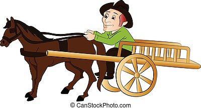 vector, de, hombre, Viajar, en, Un, caballo, dibujado,...
