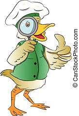 Duck Looking Through a Magnifying Glass, illustration - Duck...