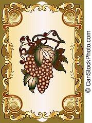 Vintage emblem with grape
