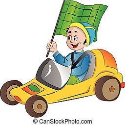 Boy in a Go Kart, illustration - Boy in a Go Kart with a...