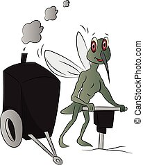 Vector of house-fly with power jackhammer. - Vector of...