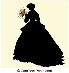 Black silhouette of a bride holding red flowers