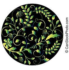 Vintage circular background with elegant retro floral design