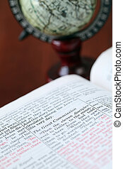 Open Bible with focus on the text in Matthew 25 - Great...