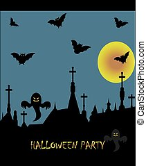 Spooky Halloween Party card with abstract design