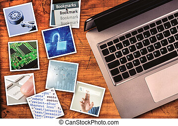 Modern computer information technology photo collage
