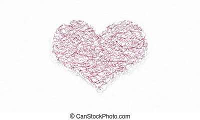 Red heart symbol graphic animation - Abstract animated wavy...