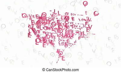 Heart symbol made by words Love - Blurred pink heart symbol...