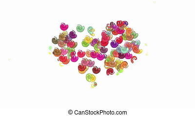 Animated color spirals forms heart - Abstract animated...