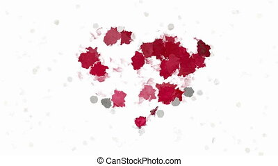 Abstract painting red heart symbol - Random animated paint...
