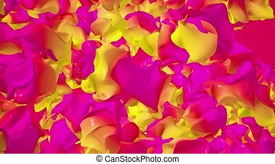 Abstract flying pieces in red,yellow and purple colors