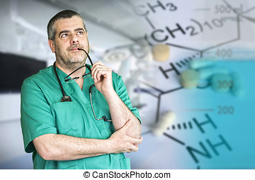 Doctor thinking in manufacturing medication