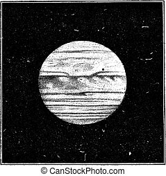 Aspect of Jupiter in December 1885 with a satellite passing...