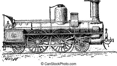 High-speed Locomotive, vintage engraving