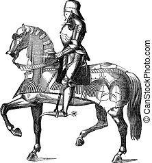 Knight on a horse vintage engraving