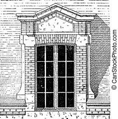 flemish, 屋根窓, 宮殿, の, フォンテンブロー, パリ, 型, engraving.,